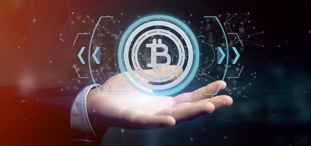 Homme tenant une icône de bitcoin de technologie sur un rendu 3d de cercle