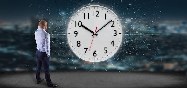 Homme tenant une minuterie d'horloge rendu 3d