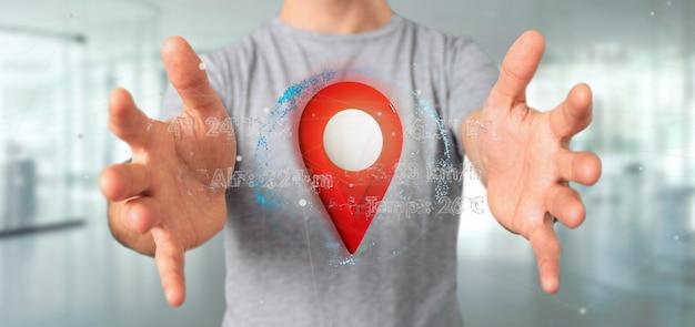 Homme tenant un porte-épingles de rendu 3d sur un globe avec des coordonnées