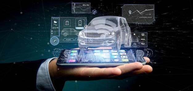 Homme tenant un tableau de bord smartcar interface tableau de bord rendu 3d