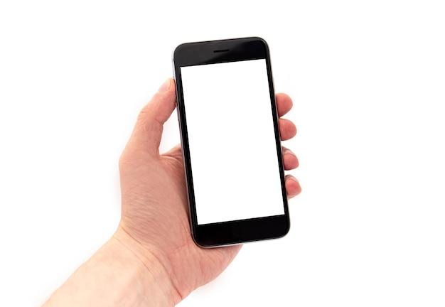 Homme tenant un téléphone mobile noir, main tenant un téléphone intelligent avec écran blanc isolé