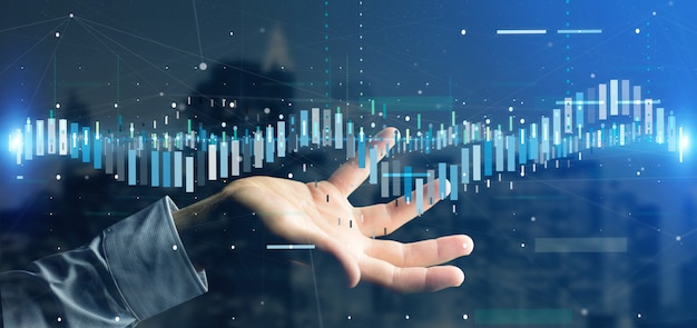 Homme, tenue, affaires, bourse, négociation, information, données