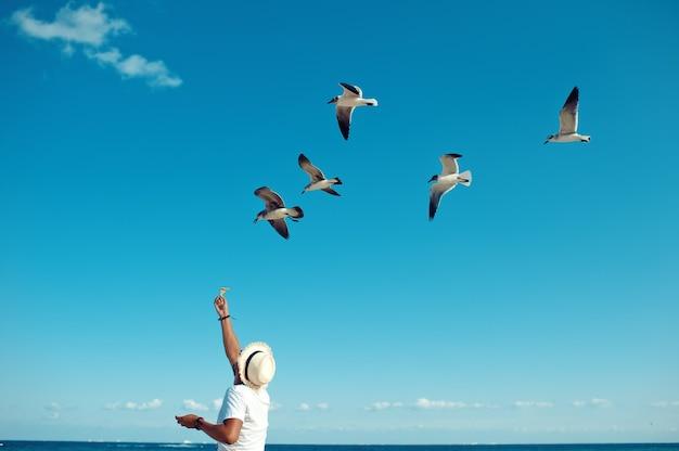 Homme de touristes nourrissant un troupeau de mouettes sur la plage de playa del carmen au mexique