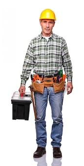 Homme à tout faire avec boîte à outils