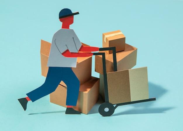 Homme travaillant avec chariot de livraison