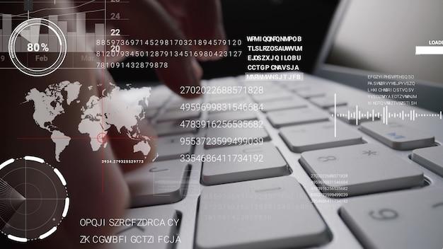 Homme travaillant sur le clavier de l'ordinateur portable avec interface utilisateur graphique