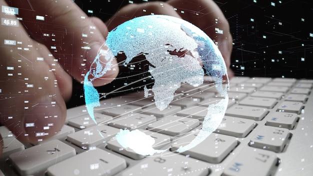Homme travaillant sur ordinateur avec graphique de la modernisation du codage des mathématiques