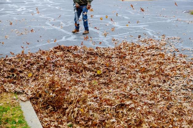Homme travaillant avec souffleur de feuilles