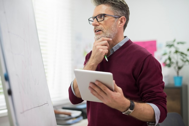 Homme travailleur avec tablette numérique