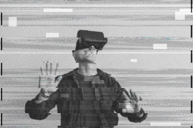 Homme utilisant la réalité virtuelle sur pépin numérique
