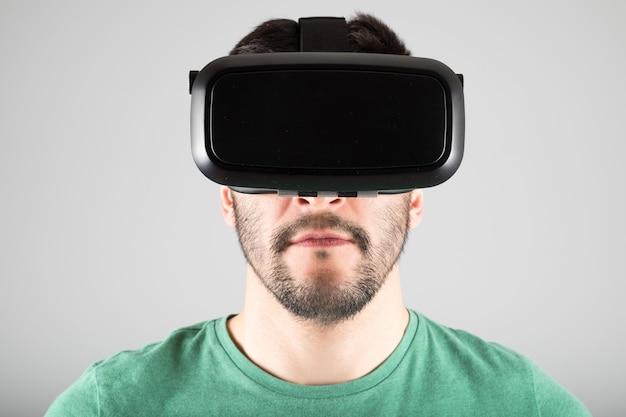 Homme, utilisation, réalité virtuelle, lunettes