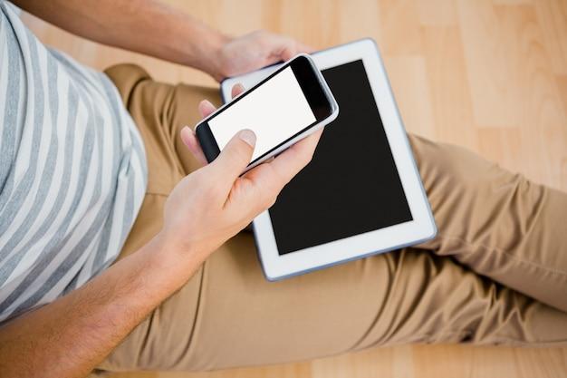 Homme, utilisation, sien, téléphone portable