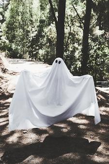 Homme en vêtements fantômes lévitant au-dessus de la passerelle en forêt