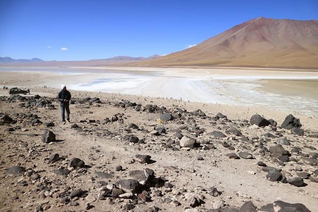Homme visitant laguna verde ou le lac vert, département de potosi en bolivie