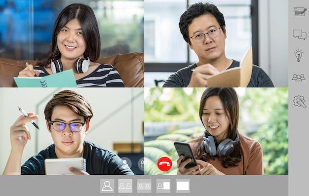 Hommes d'affaires asiatiques discutant et rencontrant un collègue de travail d'équipe lors d'une vidéoconférence