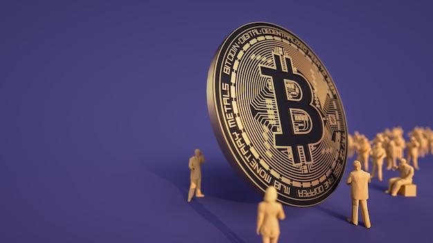 Les hommes d'affaires cherchent des pièces de monnaie bitcoin.
