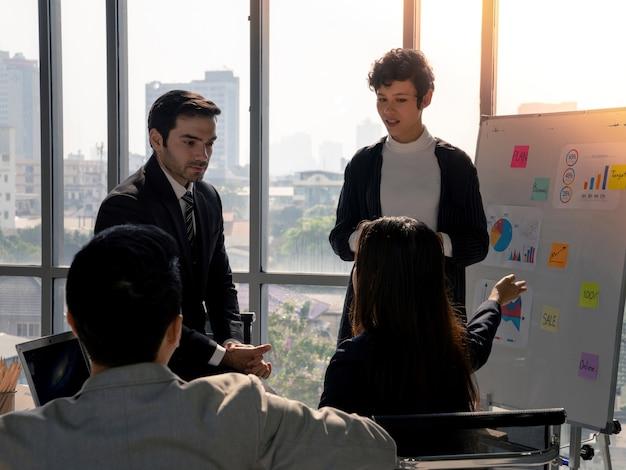 Hommes d'affaires de la diversité discutant de l'analyse de la stratégie de planification à partir du rapport de document financier sur le tableau blanc lors d'une réunion d'affaires au bureau, du travail d'équipe, de l'analyse commerciale et du concept de stratégie