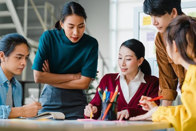 Hommes d'affaires et femmes d'affaires asiatiques réunissant des idées de remue-méninges sur l'application de planification de conception web créative et le développement de la mise en page de modèle pour un projet de téléphone mobile travaillant ensemble dans un petit bureau.