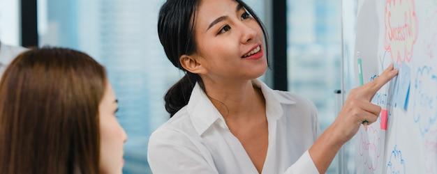 Les hommes d'affaires et les femmes d'affaires d'asie rencontrant des idées de remue-méninges conduisant des collègues de projet de présentation d'entreprise travaillant ensemble à planifier une stratégie de réussite apprécient le travail d'équipe dans un petit bureau moderne