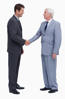 Hommes d'affaires jeunes et matures se serrant la main