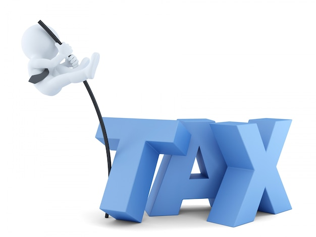 Hommes d'affaires sautant par-dessus le signe «taxe». concept d'entreprise. isolé. contient un tracé de détourage