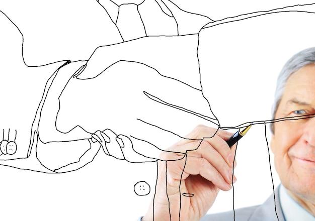 Les hommes d'affaires se serrent la main en fond blanc