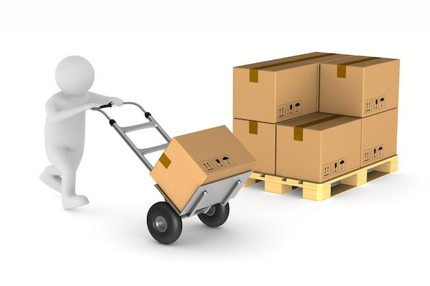 Hommes avec boîte de chargement sur camion à main. illustration 3d isolée