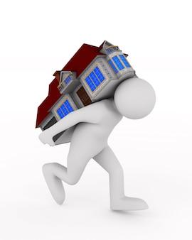 Les hommes portent la maison sur le dos. illustration 3d isolée.