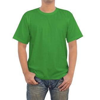 Hommes en vert t-shirt