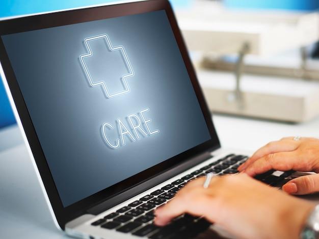Hôpital croix santé traitement icône concept graphique