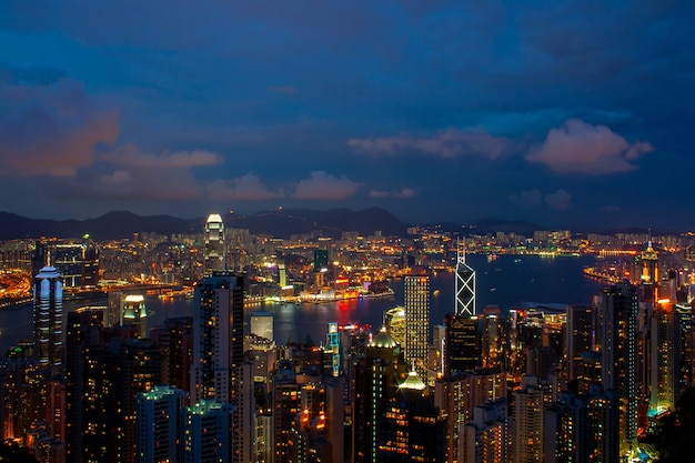 Horizon de hong kong. vue depuis le pic victoria.