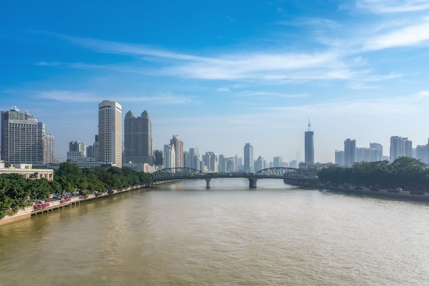 Horizon de paysage architectural du centre-ville de ningbo, chine