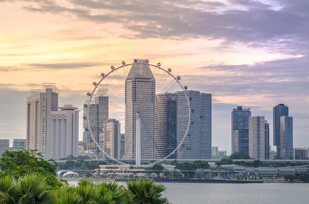 Horizon de la ville de singapour temps du coucher du soleil bb