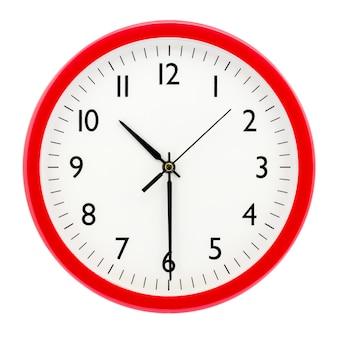 Horloge avec cadre rond rouge sur fond blanc isolé