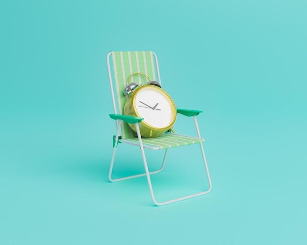 Horloge sur une chaise de plage