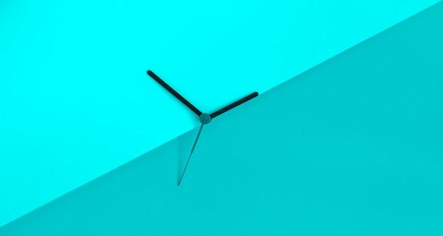 Horloge mains sur le fond de bloc de couleur bleu monochrome. concept de l'heure d'été. changement d'heure saisonnière. concept de l'heure d'été. copiez l'espace.
