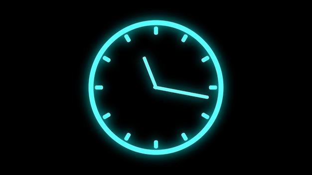 Horloge en mouvement rapide néon lumineux brillant animation de rotation rendu 3d