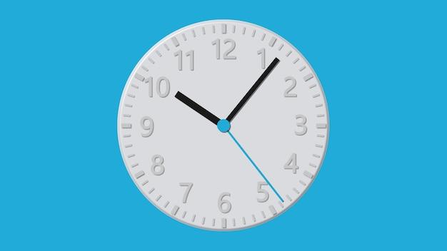 Horloge murale plate blanche sur fond bleu