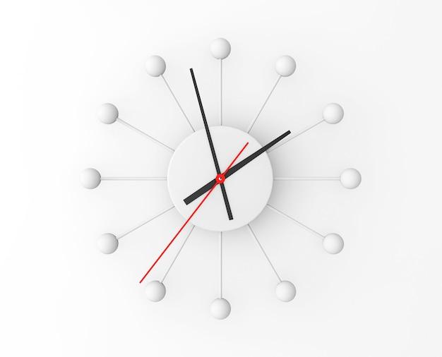 Horloge murale sphère minimaliste sur fond blanc