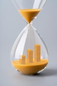 Horloge de sable pour le concept d'entreprise et l'échange de devises