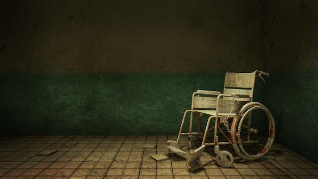 Horreur et chemin de marche effrayant et fauteuil roulant devant la salle d'examen dans le rendu 3d de l'hôpital