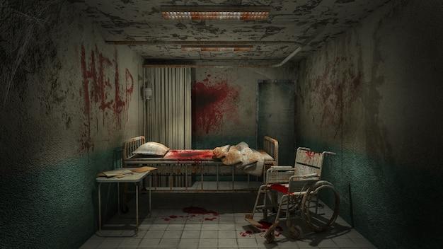 Horreur et salle de salle effrayante à l'hôpital avec du sang rendu .3d