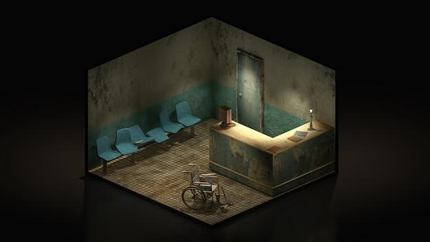 Horreur et siège effrayant en attente devant la salle d'examen à l'hôpital 3d illustration