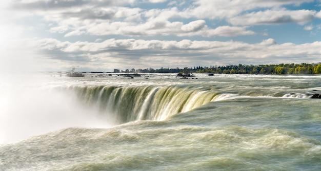 Horseshoe ou canadian falls à niagara falls à la frontière canado-américaine