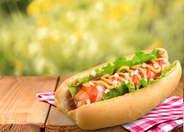 Hot-dog grillé au barbecue avec moutarde jaune
