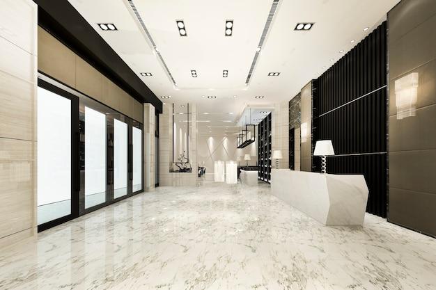 Hôtel de luxe moderne et réception de bureau et salon avec chaise de salle de réunion