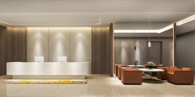 Hôtel de luxe moderne de rendu 3d et réception et salon de bureau