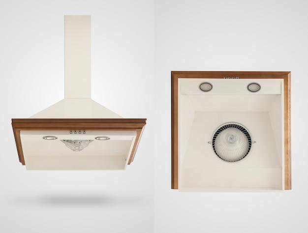 Hotte de cuisine sous deux angles sur fond blanc. appareils de cuisine. isolé