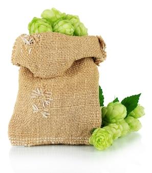 Houblon vert frais dans un sac en toile de jute, isolé sur blanc