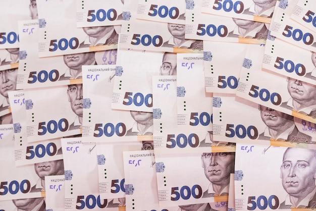 Hryvnia ukrainienne, nouveaux billets de 500 hryvnia. hryvnia (uah) contexte financier avec hryvnia